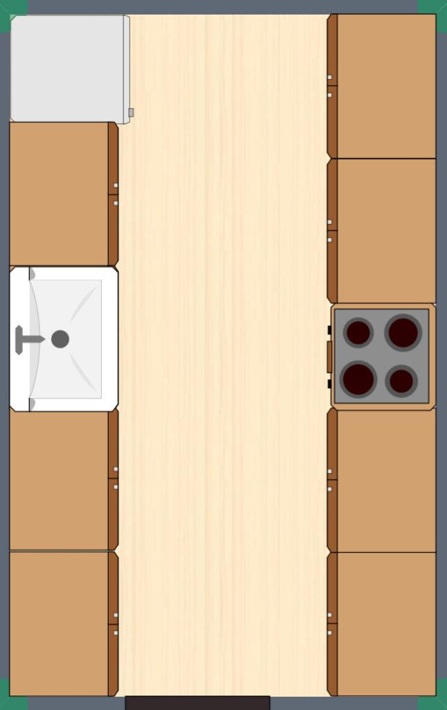 floorplan of galley kitchen